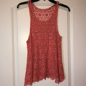 Coral crocheted tank from urban NWOT